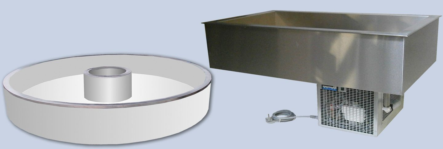 Cooling troughs, circulating air cooling troughs, refrigerating plates